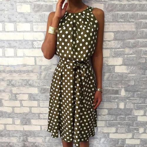 Halter Asymmetrical Ruffles Tank Polka Dot Dress Women Sexy Off Shoulder Summer Dress 2019 Bohemian Beach Dress Ladies Sundress