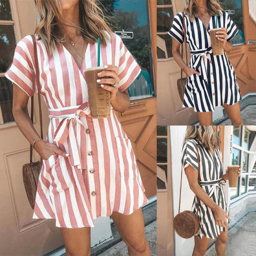 Women Casual Sashes Striped Party Dress Ladies Short Sleeve  v Neck Button Elegant Mini Dress 2019 Summer Beach Mini Dress