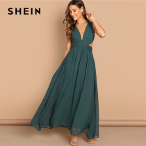 SHEIN Green Plunge Neck Crisscross Waist Ball Dress Elegant Plain Fit and Flare Dress Women Autumn Modern Lady Party Dresses