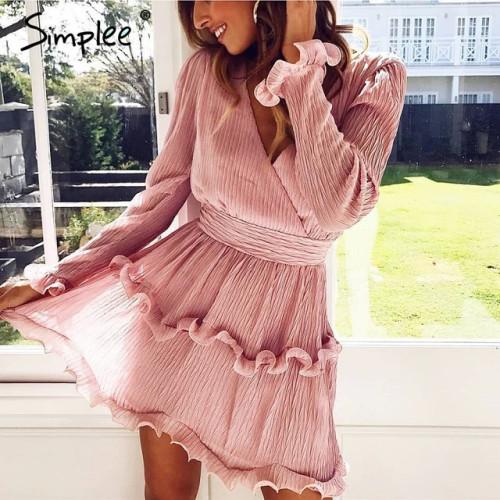Simplee Elegant pleated chiffon women dress summer 2019 Long sleeve v neck ruffles white dresses Casual mini dress vestidos