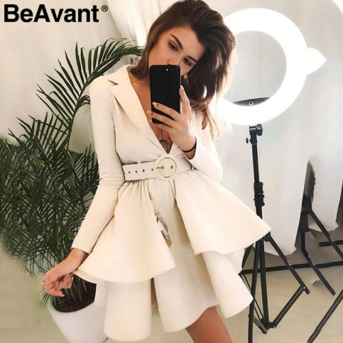 BeAvant Layered ruffle winter dress elegant 2018 OL tiered autumn women dress party High waist sash loose short dress female