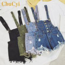 CbuCyi New Vogue Women Denim Playsuits Salopette Straps Cotton Short Romper Loose Casual Overalls Shorts Rompers Ladies Playsuit