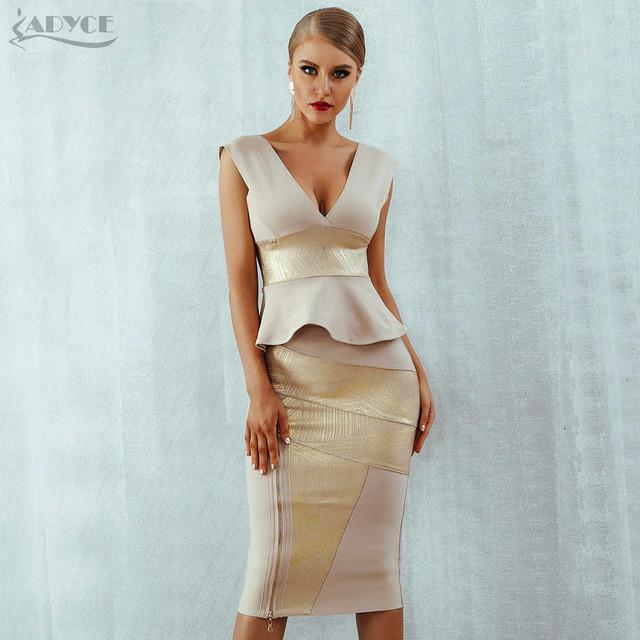 Adyce Ruffles Celebrity Party Dress 2019 New Summer Women Bodycon Set Sleeveless V-Neck Front Zipper Bandage Dress Women Vestido