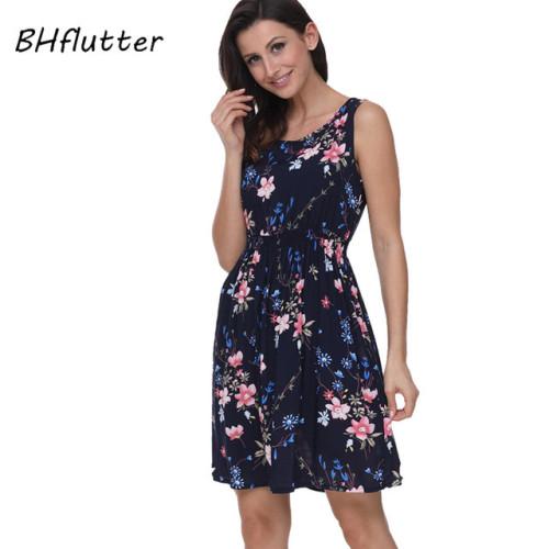 BHflutter 2018 Women Summer Dress Floral Print Sleeveless Casual Dress Tank Dress Cotton Short Retro Vintage Dresses Vestidos