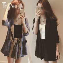 Trytree Spring summer Women two piece set Casual tops + shorts plus size plaid Top Female Office Suit Set Women's 2 Piece Set