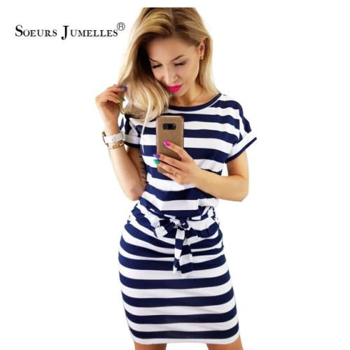 2019 New Summer dress women vintage draped sexy bodycon vestidos striped short sleeve slim female dresses 10 colors high quality