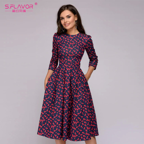 S.FLAVOR Women Elegant A-line Dress 2019 Vintage printing party vestidos Three Quarter Sleeve women Slim Summer Dress