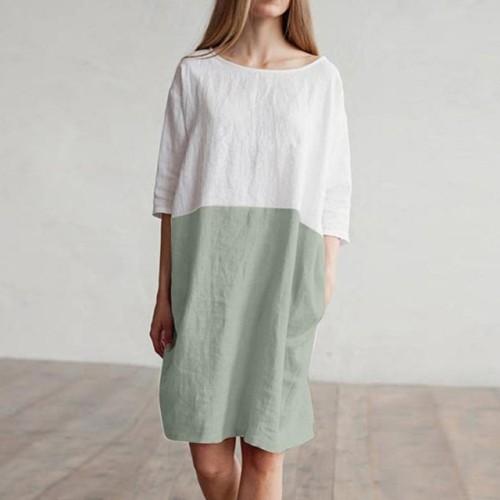 Women Casual Patchwork 1/2 Sleeved Cotton Linen Oversized Loose Pockets Tunic Dress High Waist Dress linen Dress vestidos F4