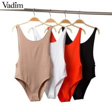 Vadim women Sexy backless slim bodysuits sleeveless sheath playsuits female casual party stretchy solid chic top blusas KA602