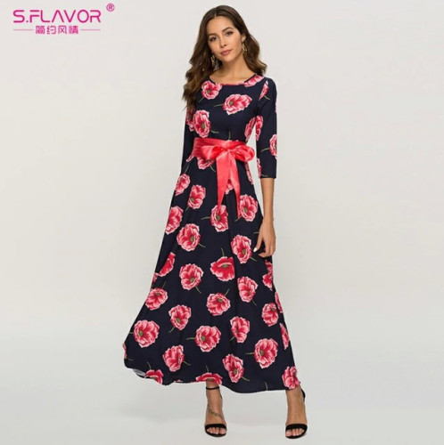 S.FLAVOR Women printing Spring Summer dress  Elegant O-neck loose long party dress for female Hot sale women vestidos No pockets