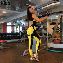 Kliou women yellow patchwork sporting jumpsuits elastic skinny fitness bodysuit female sexy backless hollow out mesh sportswear