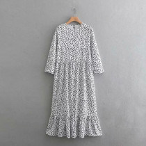 2019 women fashion o neck three quarter sleeve dots printing casual long dress female hem ruffles vestidos chic dresses DS1908