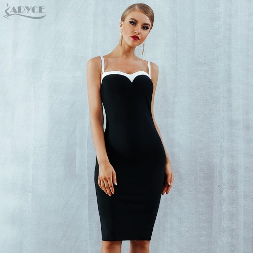 Adyce Summer Women Bodycon Bandage Dress Vestidos Verano 2019 Strapless Black&White Midi Celebrity Evening Party Dress Clubwears