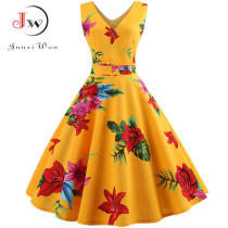 Summer Women Dress  Elegant Vintage Floral Tunic Sundress Sexy V Neck Work Office Party Dresses Plus Size Midi Robe Pin Up