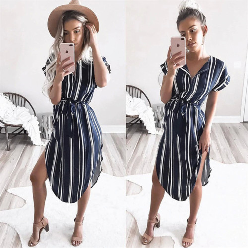 2019 Summer Women Dress Striped Office Pencil Dress Batwing Short Sleeve Tunic Bandage Bodycon Beach Party Dress Vestidos mujer