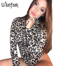 Realpopu Knitted Leopard Printed Jumpsuit Women Turtleneck Short Bodysuit Women Sexy Bodycon Casual Slim Long Sleeve Rompers Top