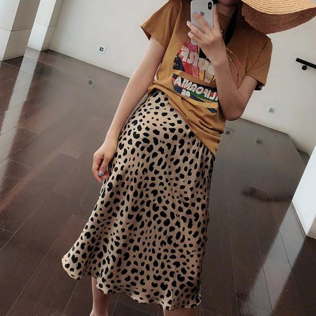 Summer 2019 kawaii boho bodycon leopard print high waist skirts womens midi leopard skirt punk streetwear korean style