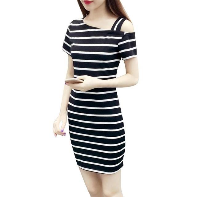Cheap Summer Dress Boat Neck Oblique Shoulder Cotton Striped Medium Style Short-sleeved Casual Dress