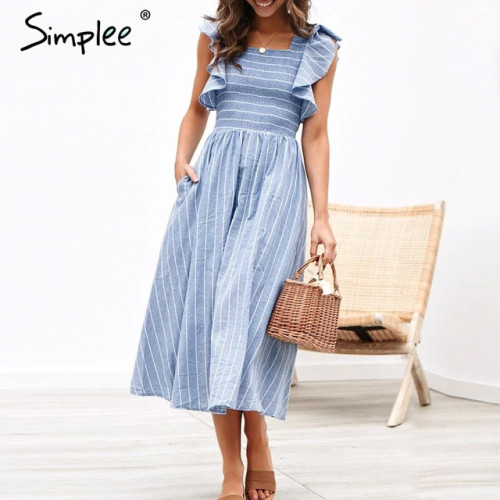 Simplee Vintage striped women long dress Ruffle linen blue elegant summer dress 2019 Casual cotton fashion female beach vestidos