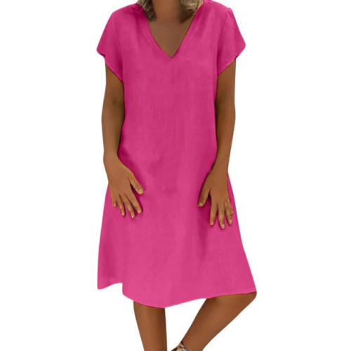 CHAMSGEND Dress 2019 New Women Summer Style Feminino Vestido T-shirt Cotton Linen Casual Plus Size Ladies Loose Dresses 6.JAN.13