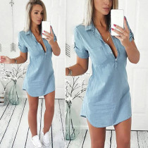 2019 Summer New Causal Irregular Shirt Jean Dress Women  Denim Short Sleeve Sexy Mini Dress Casual Loose Office Female Vestidos