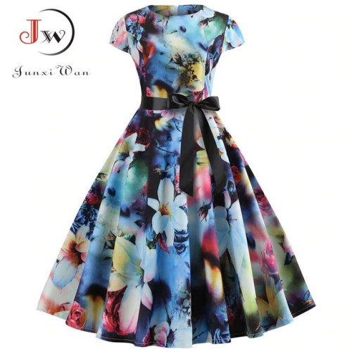 Women Vintage Dress 2019 Summer Floral Print Short Sleeve Dresses 50s 60s Office Party Rockabilly Swing Retro Pinup Plus Size