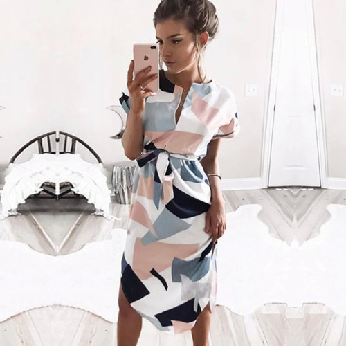 Summer Dress 2019 Women Boho Style Geometric Print Beach Dress Elegant Party Dresses with Belt Vestidos de fiesta Plus Size XXXL