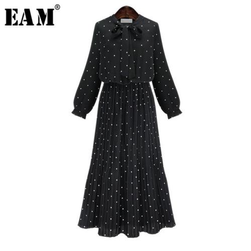 [EAM] 2019 New Spring  Round Neck Long Sleeve Solid Black Chiffon Dot Loose Big Size Dress Women Fashion Tide JA23601M