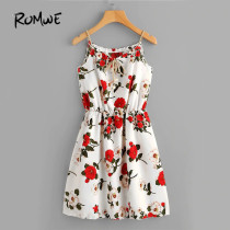 ROMWE Cute Floral Summer Dress Women Random Self Tie Casual Slip Midi Dress 2019 New Faux Pearls Elegant Knot Front A Line Dress