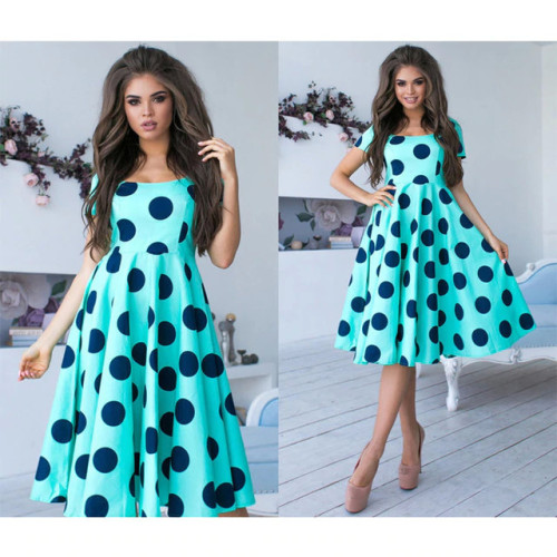 Women Bohemian Dot Printed A-line Party Dress Short Sleeve O Neck Elegant 2019 Female Summer New Fashion Chic Vintage Vestidos