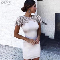 Adyce New Summer Bandage Dress 2019 Woman Celebrity Evening Party Dress Vestido Sexy White Beads Diamond Mini Runway Club Dress