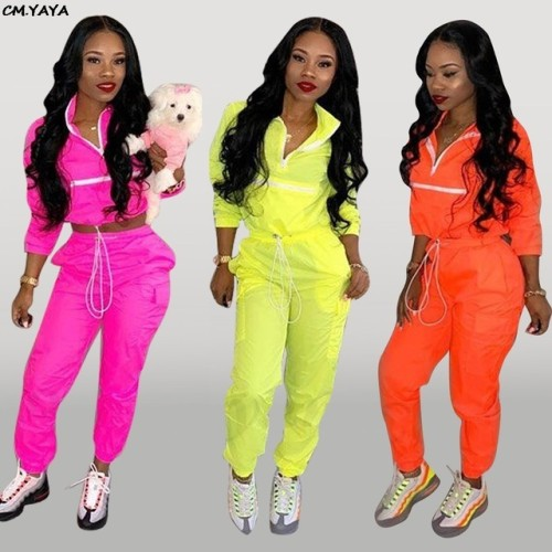 2019 new women zip up neck long sleeve short trench safari long pants suits two pieces set sporting tracksuit outfit GLD8238