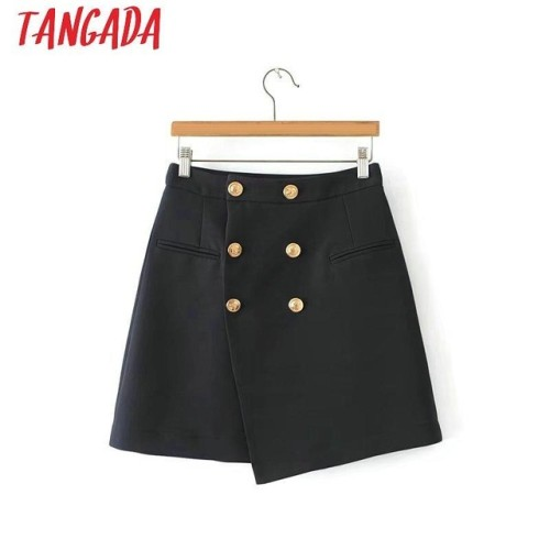 Tangada sweet asymmetrical skirts womens female autumn winter short mini skirts ladies office brand vintage skirts navy 6A07