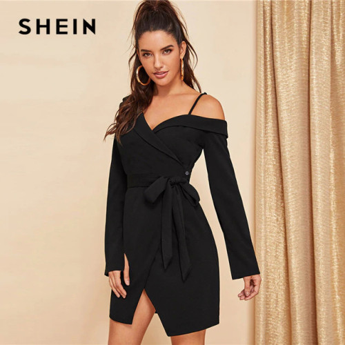 SHEIN Black Asymmetric Shoulder Wrap Dress Party Sheath Short A Line Plain Short Dresses Women Elegant Highstreet Autumn Dresses