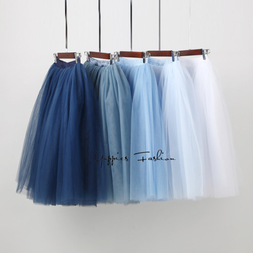 Streetwear 7 Layers 65cm Midi Pleated Skirt Women Gothic High Waist Tulle Skater Skirt rokjes dames ropa mujer 2019 jupe femme