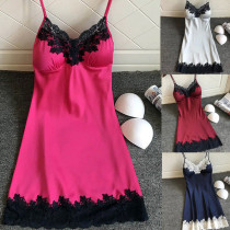 sexy sleepwear satin nightgown For Women Ladies Sleeveless Nightwear nightgown Nightdress Sexy Dress with Chest Pads #F20