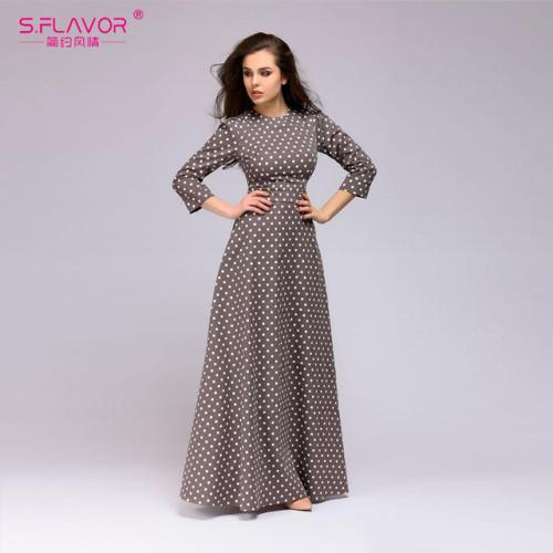 S.FLAVOR Retro wave point long dress Women vintage style O-neck three quarter sleeve Elegant vestidos Spring Summer casual dress
