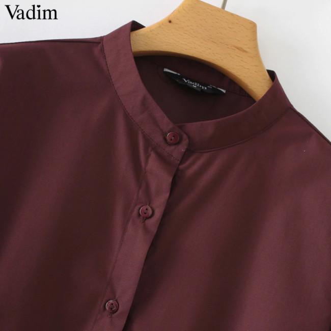 Vadim women solid pleated dress three quarter sleeve stand collar casual basic ladies casual mini dresses female vestidos QA442