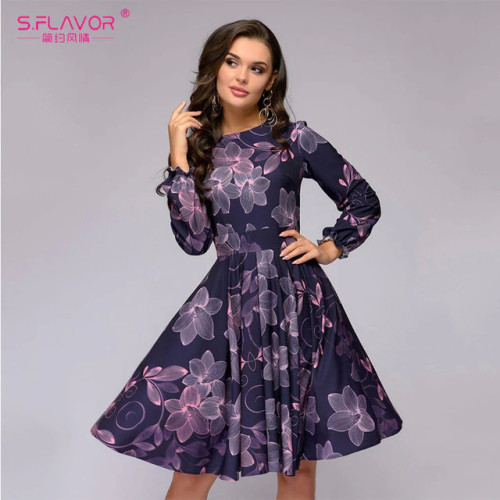 S.FLAVOR Women printing A-line dress Elegant purple color ruffles long sleeve short dress New Spring Summer vintage vestidos