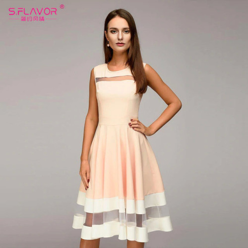 S.FLAVOR 2019 Women elegant knee-length dress sexy mesh patchwork O-neck A-line Vestidos women summer Sleeveless party dress