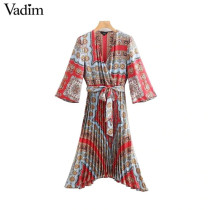 Vadim paisley print midi dress V neck bow tie sashes pleated design elastic waist irregular retro female casual dresses QB183