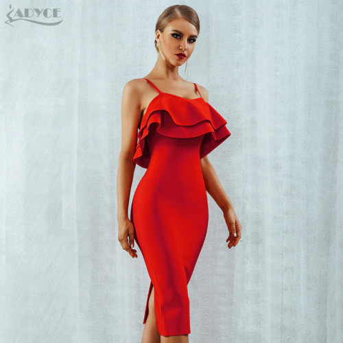 Adyce Women Bodycon Summer Bandage Dress 2019 Red Spaghetti Strap Vestidos Strapless Ruffles Midi Celebrity Evening Party Dress