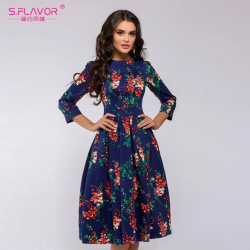 S.FLAVOR Brand Elegant Women A-line Dress 2018 New Style Flower printing Draped Middle Dress Women Casual autumn Summer Vestidos