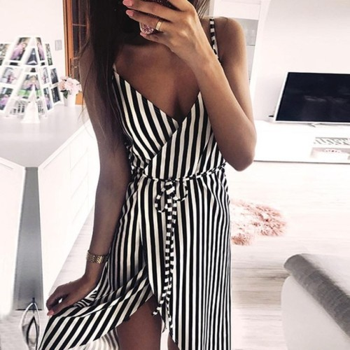 KANCOOLD dress Women Stripe Printing Sleeveless Off Shoulder Dress Evening Party Vest Empire Sashes dress women 2018AUG1