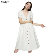 Vadim women sexy V neck solid midi dress pockets buttons short sleeve pleated ladies casual brand chic dresses vestidos QZ3650