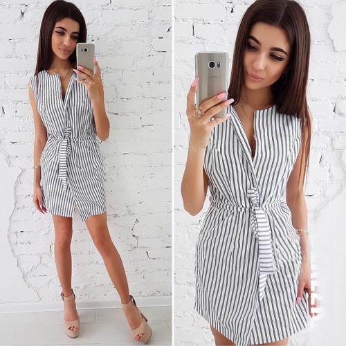 Women 2019 summer New Fashion Elegant Blue Black Striped Dresses Casual V-neck Sleeveless Sashes Loose Mini dress