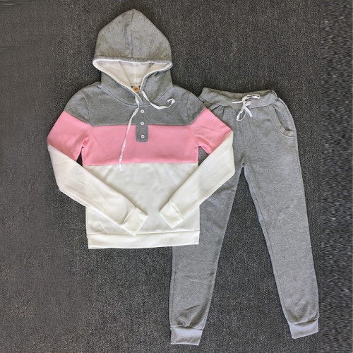 Tracksuit 2pcs Women Set Hoodies Crop Top Sweatshirt+Side Stripe Pants Hooded 2 Pieces Sets Women Clothing Suits Female
