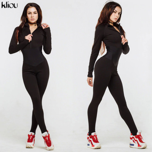 Kliou new arrival women sporting fitness jumpsuit autumn winter full sleeve zipper turtleneck skinny slim female casual bodysuit