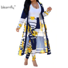Blue Yellow Floral Print Sexy Two Piece Set Women Summer Full Sleeve Striped Maxi Open Stitch High Waist Long Trouser Outfit