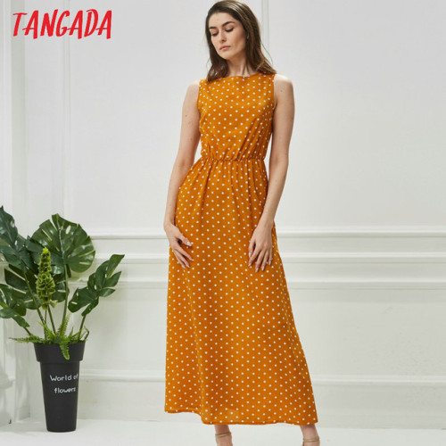 Tangada summer women maxi dress long korean style polka dot dress vintage ladies dresses sleeveless robe femme ete 2018 AON42